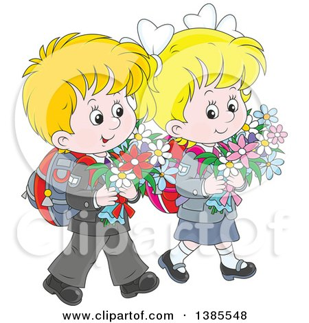 Clipart of a Cartoon Thoughtful White Boy and Girl Walking with Backpacks and Carrying Flowers - Royalty Free Vector Illustration by Alex Bannykh