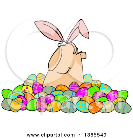 Clipart of a Happy White Man Wearing Bunny Ears and Popping out of a Pile of Decorated Easter Eggs - Royalty Free Vector Illustration by djart
