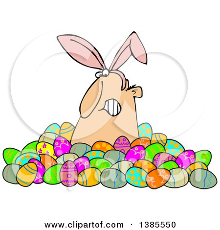 Clipart of a Grumpy White Man Wearing Bunny Ears and Popping out of a Pile of Decorated Easter Eggs - Royalty Free Vector Illustration by djart
