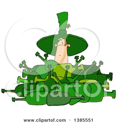 Clipart of a Cartoon St Patricks Day Leprechaun Deep in a Pile of Bottles - Royalty Free Vector Illustration by djart