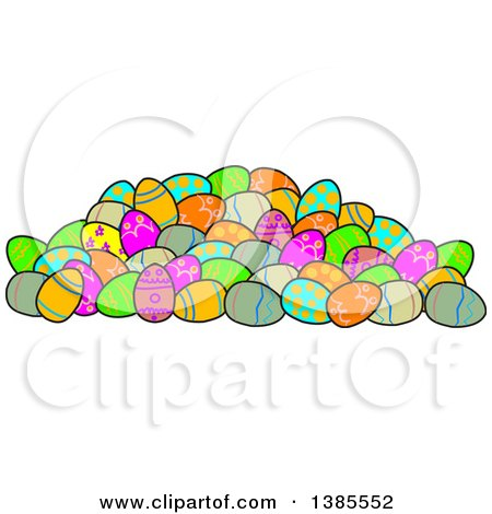 Clipart of a Pile of Decorated Easter Eggs - Royalty Free Vector Illustration by djart