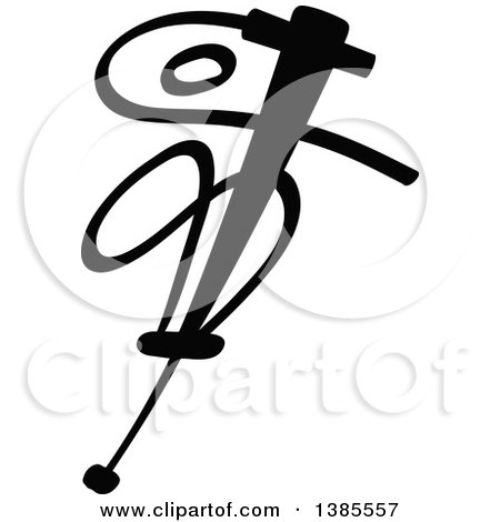 Clipart of a Black and White Stick Man Doing Stunts on a Pogo Stick - Royalty Free Vector Illustration by Zooco