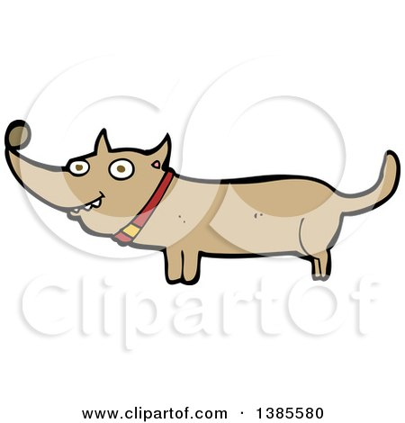 Clipart of a Cartoon Dachshund Dog - Royalty Free Vector Illustration by lineartestpilot