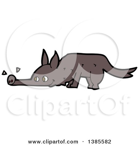 Clipart of a Cartoon Wolf Sniffing - Royalty Free Vector Illustration by lineartestpilot