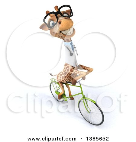 Clipart of a 3d Bespectacled Doctor or Veterinary Giraffe Riding a Bicycle, on a White Background - Royalty Free Illustration by Julos