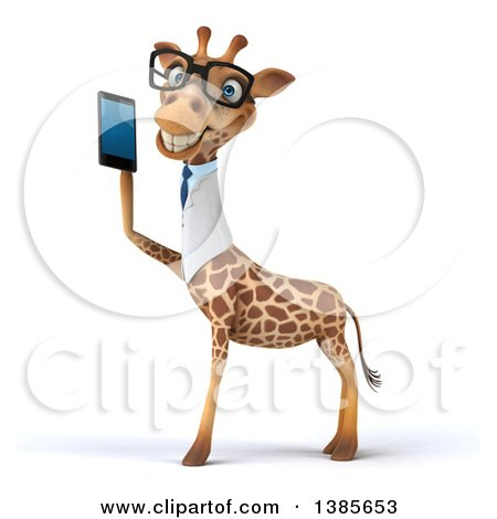 Clipart of a 3d Bespectacled Happy Doctor or Veterinary Giraffe Facing Left and Talking on a Smart Phone, on a White Background - Royalty Free Illustration by Julos