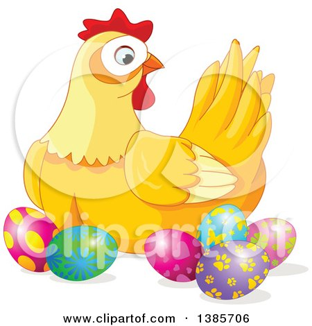 Clipart of a Yellow Hen Chicken Surrounded with Decorated Easter Eggs - Royalty Free Vector Illustration by Pushkin
