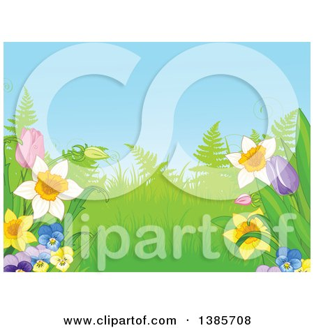 Garden Background with Ferns and Spring Flowers Posters, Art Prints