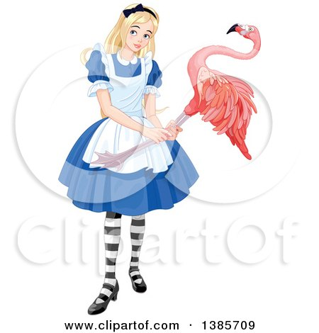 Clipart of Alice Holding a Flamingo and Playing Croquet - Royalty Free Vector Illustration by Pushkin