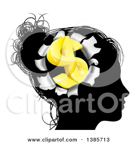 Clipart of a Black Silhouetted Woman's Head with a 3d Gold Dollar Symbol Breaking out - Royalty Free Vector Illustration by AtStockIllustration