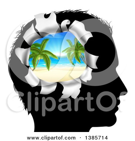 Clipart of a Black Silhouetted Man's Head Thinking of Vacation with a Hole Showing a 3d Tropical Beach - Royalty Free Vector Illustration by AtStockIllustration