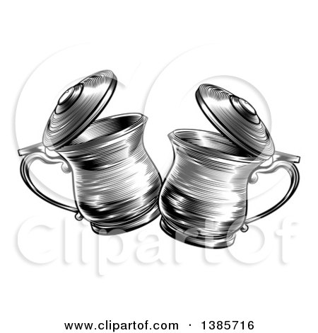 Clipart of Black and White Woodcut or Engraved Beer Steins or Tankards Chinking Together in a Toast - Royalty Free Vector Illustration by AtStockIllustration