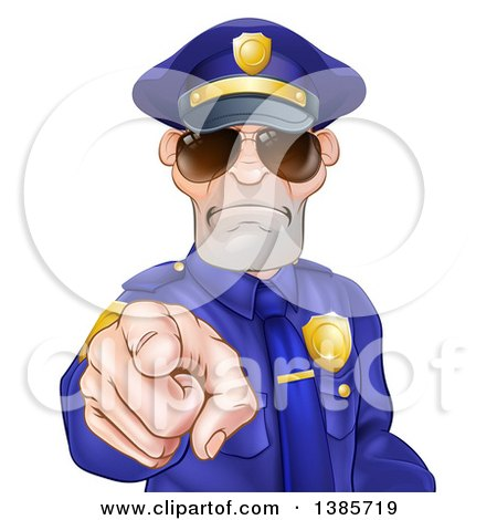 Clipart of a Tough and Angry White Male Police Officer Wearing Sunglasses and Pointing Outwards - Royalty Free Vector Illustration by AtStockIllustration