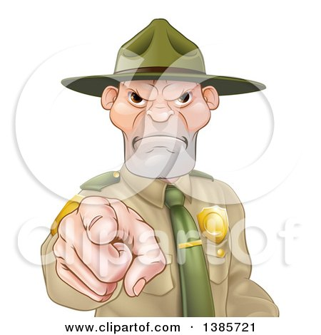 Clipart of a Tough and Angry White Male Forest Ranger Pointing Outwards - Royalty Free Vector Illustration by AtStockIllustration