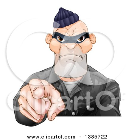 Clipart of a Tough and Angry White Male Robber Pointing Outwards - Royalty Free Vector Illustration by AtStockIllustration