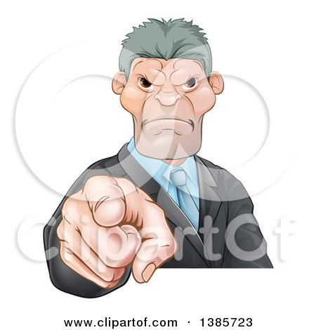 Clipart of a Tough and Angry Caucasian Business Man Pointing Outwards, a Boss Pointing at an Employee - Royalty Free Vector Illustration by AtStockIllustration