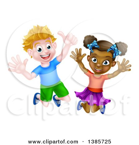 Clipart of a Cartoon Happy Excited White Boy and Black Girl Jumping - Royalty Free Vector Illustration by AtStockIllustration