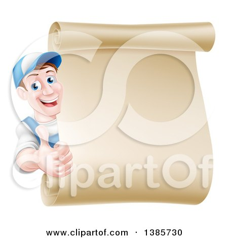 Happy Brunette Middle Aged Caucasian Mechanic Man in Blue, Giving a Thumb up Around a Blank Scroll Sign Posters, Art Prints