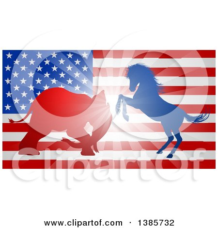 Silhouetted Political Aggressive Democratic Donkey or Horse and Republican Elephant Battling over an American Flag and Burst Posters, Art Prints