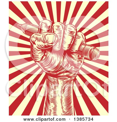 Clipart of a Retro Woodcut or Engraved Fisted Hand Holding a Pencil over Rays - Royalty Free Vector Illustration by AtStockIllustration