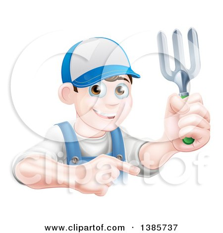 Clipart of a Young Brunette White Male Gardener in Blue, Holding a Garden Fork and Pointing over a Sign - Royalty Free Vector Illustration by AtStockIllustration