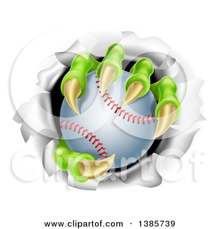 Clipart of Monster Claws Holding a Baseball and Ripping Through a Wall - Royalty Free Vector Illustration by AtStockIllustration