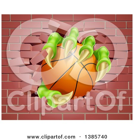 Clipart of Monster Claws Holding a Basketball and Breaking Through a Brick Wall - Royalty Free Vector Illustration by AtStockIllustration