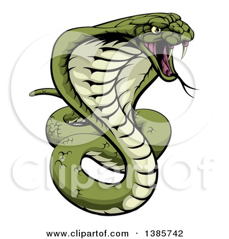 Clipart of a Cartoon Angry Green King Cobra Snake Ready to Strike - Royalty Free Vector Illustration by AtStockIllustration