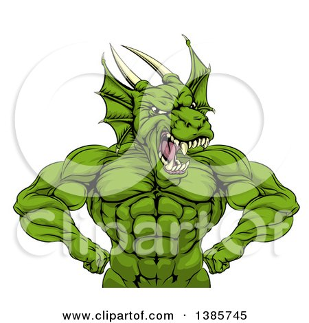 Clipart of a Cartoon Roaring Green Muscular Dragon Man Flexing, from the Waist up - Royalty Free Vector Illustration by AtStockIllustration