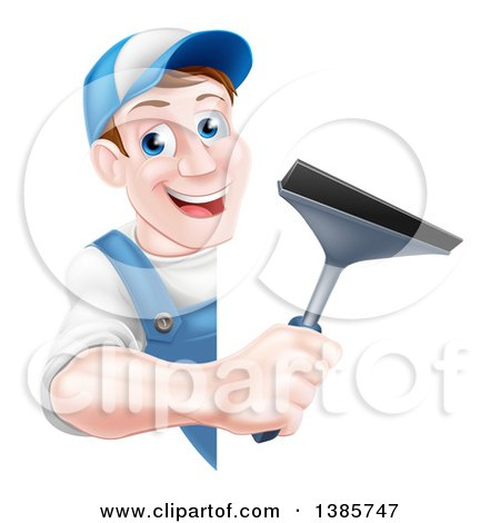 Clipart of a Happy Middle Aged Brunette Caucasian Window Cleaner Man in Blue, Holding a Squeegee Around a Sign - Royalty Free Vector Illustration by AtStockIllustration