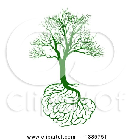 Clipart of a Green Bare Tree with Brain Roots, Symbolizing Memory Loss - Royalty Free Vector Illustration by AtStockIllustration