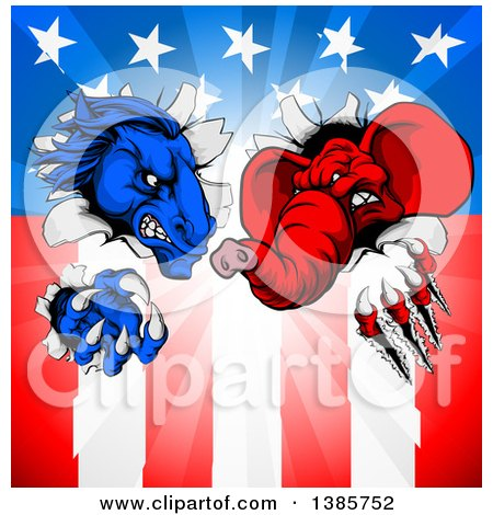 Clipart of a Cartoon Political Aggressive Democratic Donkey or Horse and Republican Elephant Shredding Through an American Flag and Burst - Royalty Free Vector Illustration by AtStockIllustration