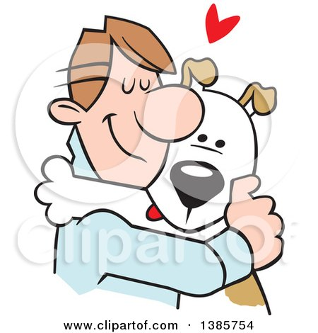 Clipart of a Cartoon Caucasian Man Hugging His Dog - Royalty Free Vector Illustration by Johnny Sajem