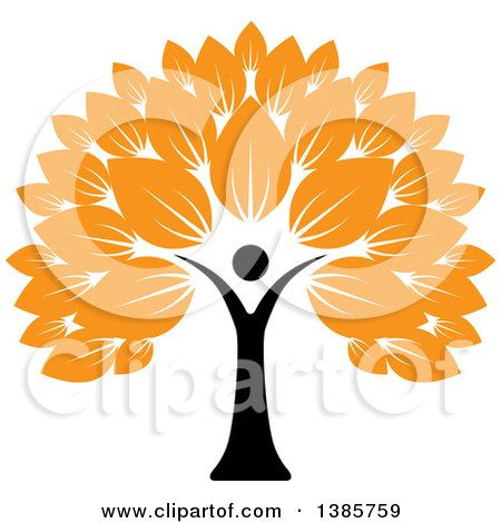 Clipart of a Black Silhouetted Person Forming the Trunk of a Tree with Orange Leaves - Royalty Free Vector Illustration by ColorMagic