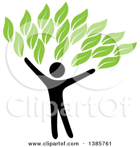 Clipart of a Black Silhouetted Person Forming the Trunk of a Tree with Green Leaves - Royalty Free Vector Illustration by ColorMagic
