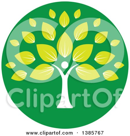 Clipart of a White Silhouetted Person Forming the Trunk of a Tree with Green Leaves in a Circle - Royalty Free Vector Illustration by ColorMagic
