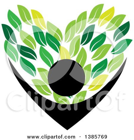 Clipart of a Black Silhouetted Person Holding up Green Leaves Forming a Heart - Royalty Free Vector Illustration by ColorMagic