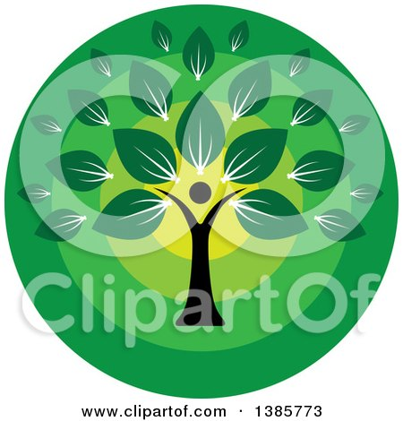 Clipart of a Black Silhouetted Person Forming the Trunk of a Tree with Green Leaves in a Circle - Royalty Free Vector Illustration by ColorMagic