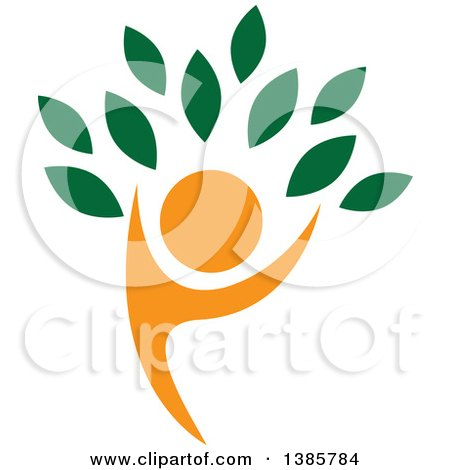 Clipart of an Orange Silhouetted Person Forming the Trunk of a Tree with Green Leaves - Royalty Free Vector Illustration by ColorMagic