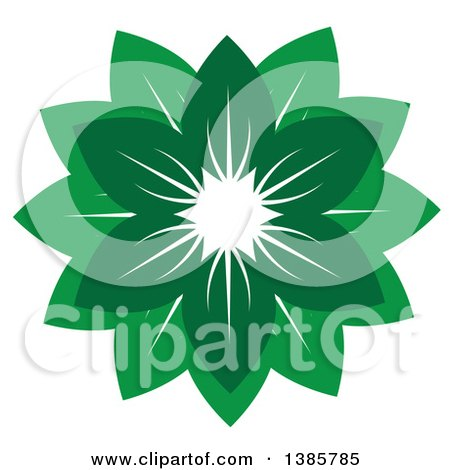 Clipart of a Circle or Flower of Green Leaves - Royalty Free Vector Illustration by ColorMagic