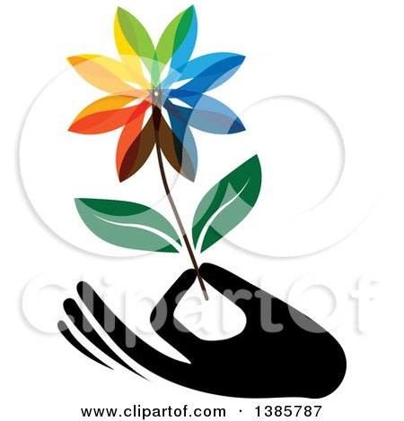 Clipart of a Black Silhouetted Hand Holding a Colorful Flower - Royalty Free Vector Illustration by ColorMagic