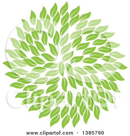 Clipart of a Circle of Green Leaves - Royalty Free Vector Illustration by ColorMagic
