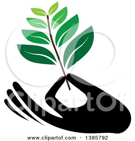 Clipart of a Black Silhouetted Hand Holding a Branch with Green Leaves - Royalty Free Vector Illustration by ColorMagic
