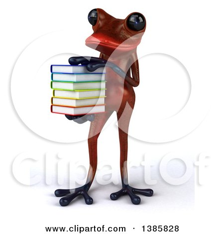 Clipart of a 3d Red Frog, on a White Background - Royalty Free Illustration by Julos