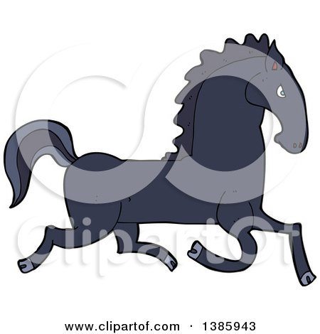 Clipart of a Cartoon Black Horse - Royalty Free Vector Illustration by lineartestpilot