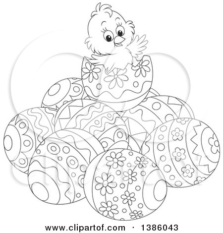Clipart of a Black and White Lineart Chick on Top of a Pile of Easter Eggs - Royalty Free Vector Illustration by Alex Bannykh