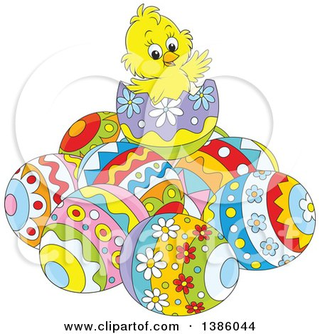 Clipart of a Cartoon Yellow Chick on Top of a Pile of Easter Eggs - Royalty Free Vector Illustration by Alex Bannykh