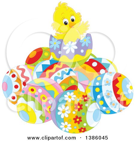 Clipart of a Yellow Chick on Top of a Pile of Easter Eggs - Royalty Free Vector Illustration by Alex Bannykh