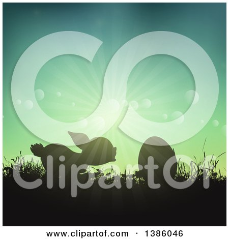 Clipart of a Silhouetted Bunny Rabbit with an Egg in Grass Against a Sunny Sky - Royalty Free Vector Illustration by KJ Pargeter