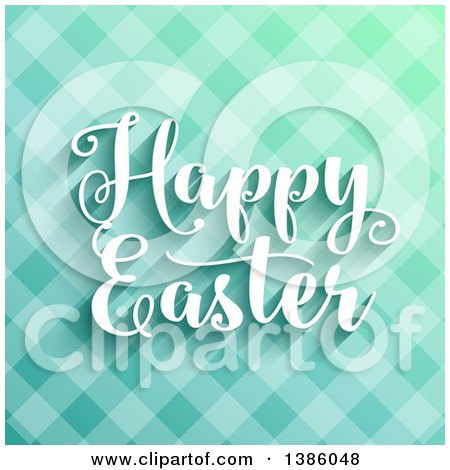Clipart of a Happy Easter Greeting over Blue Plaid - Royalty Free Vector Illustration by KJ Pargeter